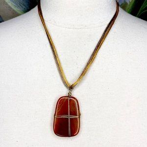 Coldwater Creek Faux Stone Pendant Boho Necklace